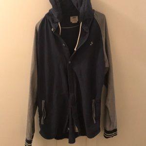 Men's vans hooded lightweight varsity jacket.